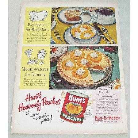 1953 Hunt's Peaches Heavenly Peach Pie Recipe Color Print Ad