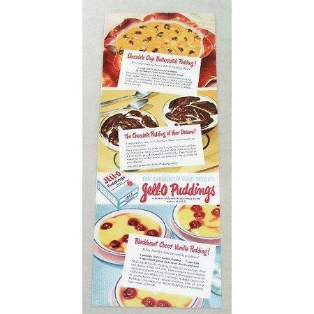 1947 Jello Pudding Cherry Vanilla Pudding Recipe Color Print Ad