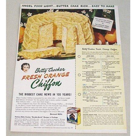 1949 Betty Crocker Cake Flour Orange Cake Recipe Color Print Ad