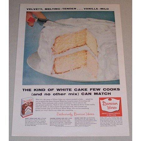 1957 Duncan Hines White Cake Mix Color Print Ad - Velvety