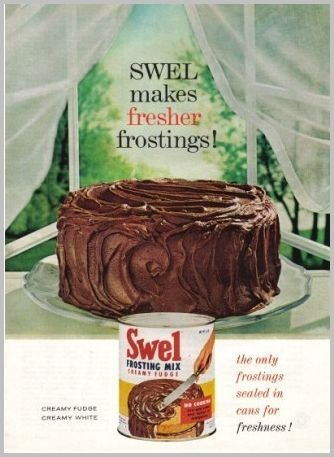 1961 Swel Creamy Fudge Frosting Mix Color Print Ad