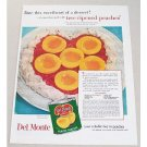 1954 Del Monte Peach Halves Peach Sweetheart Recipe Color Print Ad