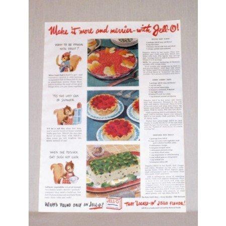 1945 Jello Gellatin Color Print Ad - Make it More And Merrier