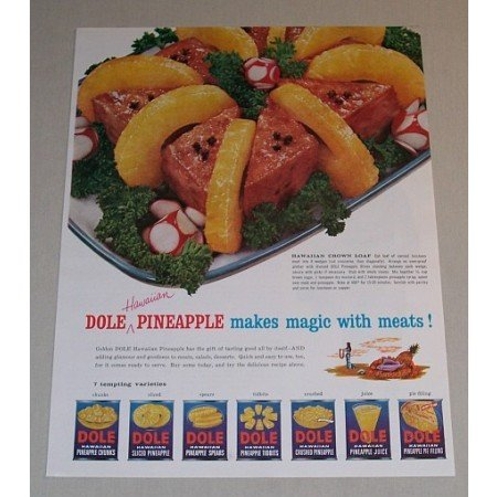 1957 Dole Hawaiian Pineapple Crown Loaf Recipe Color Print Ad