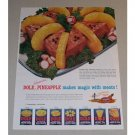1957 Dole Hawaiian Pineapple Crown Loaf Recipe Color Print Ad