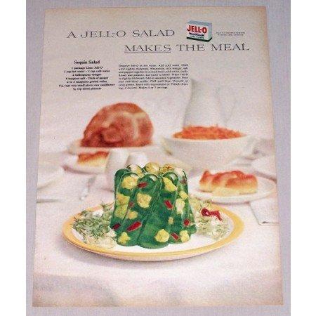 1955 Jello Lime Gelatin Sequin Salad Recipe Color Print Ad