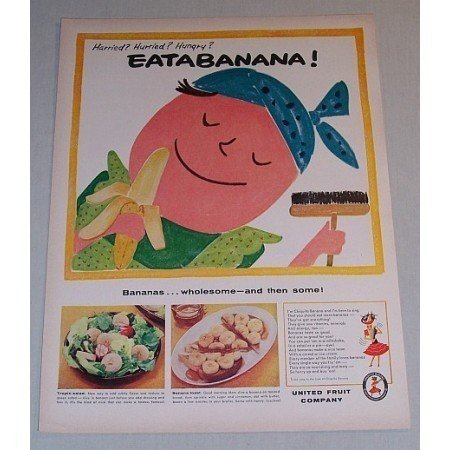 1957 Chiquita Bananas Color Art Print Ad - EATABANANA!
