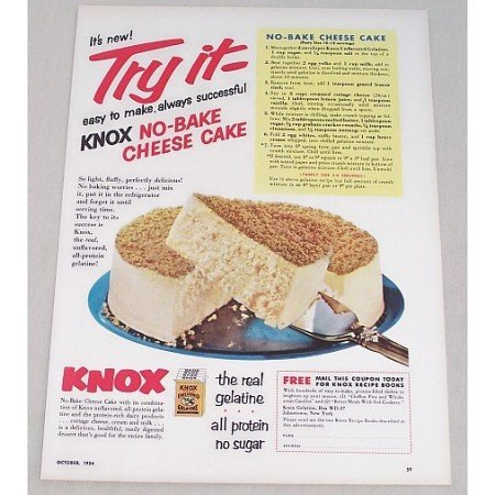 1954 Knox Gelatine No-Bake Cheese Cake Recipe Color Print Ad