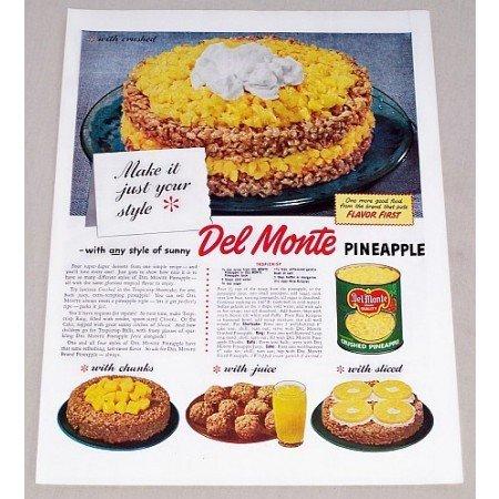 1949 Del Monte Pineapple Tropicrisp Shortcake Recipe Color Print Ad