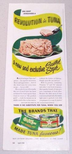 1948 Chicken Of The Sea White Star Tuna Color Print Ad