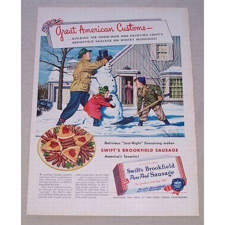 1950 Swift's Brookfield Pork Sausage Winter Art Color Print Ad