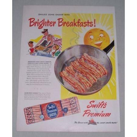 1949 Swift's Premium Bacon Color Art Print Ad - Brighter Breakfast