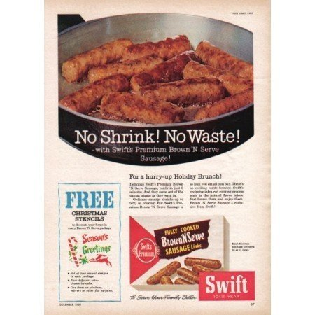 1958 Swift Brown 'N Serve Sausage Links Color Print Ad