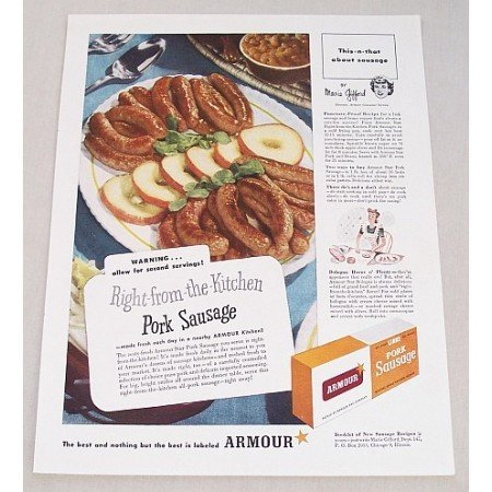 1947 Armour Pork Sausage Color Print Ad - Right From The Kitchen