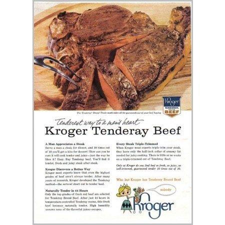 1959 Kroger Tenderay Brand Beef Color Print Ad