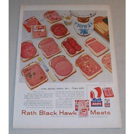 1955 Rath Black Hawk Sliced Meats Color Print Ad