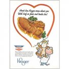 1959 Kroger Tenderay Brand Beef Cow Animal Art Color Ad