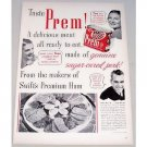 1940 Swift's Prem Canned Meats Color Print Ad - Ready To Eat