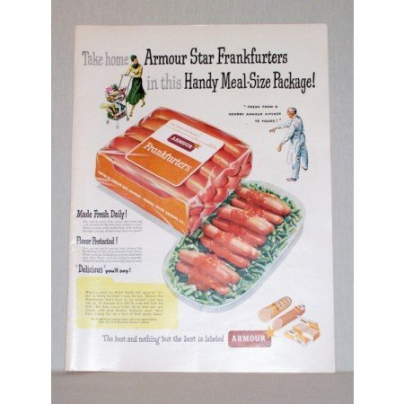 1948 Armour Star Frankfurters Hot Dogs Color Print Ad