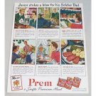 1944 Prem Premium Canned Meats Color Print Ad