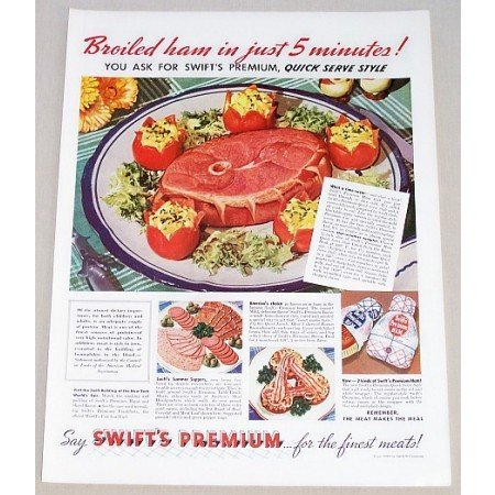 1939 Swift's Broiled Ham Meats Color Print Ad - Broiled Ham in 5 Minutes