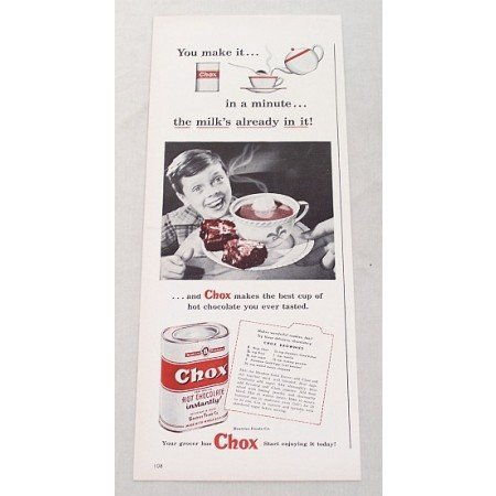 1948 Chox Hot Chocolate Mix Chox Brownies Recipe Print Ad