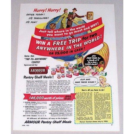 1952 Armour Pantry Shelf Meals Contest Color Print Ad