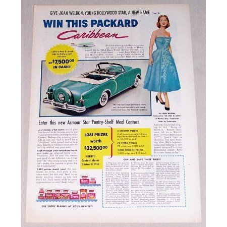 1953 Armour Foods Packard Auto Car Contest Color Print Ad Celebrity Joan Weldon