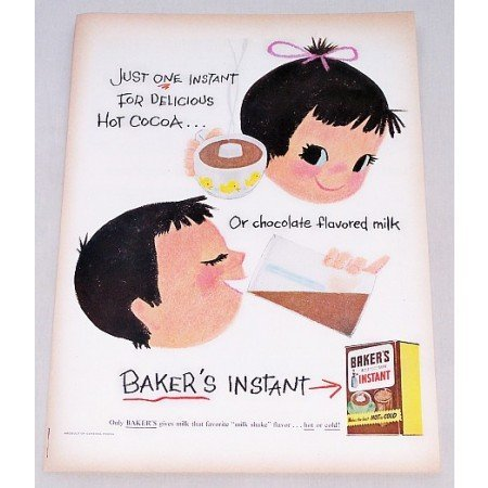 1956 Baker's Instant Chocolate Mix Color Art Print Ad