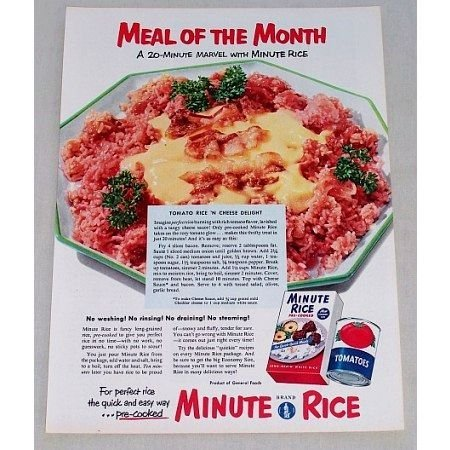 1953 Minute Rice Tomato Rice N Cheese Recipe Color Print Ad