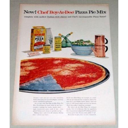 1956 Chef Boy-Ar-Dee Pizza Pie Mix Color Print Ad