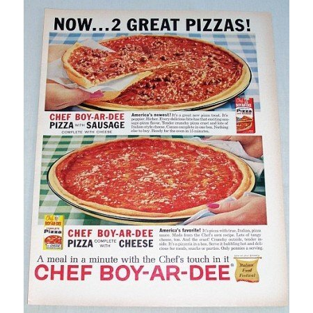 1961 Chef Boy-Ar-Dee Pizza Mix Color Print Ad - 2 Great Pizzas