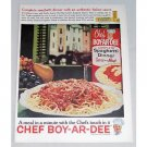 1961 Chef Boy-Ar-Dee Spaghetti Dinner Color Print Ad