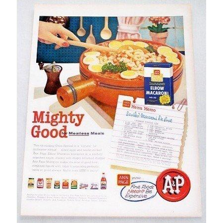 1956 A&P Elbow Macaroni Deviled Mac Deluxe Recipe Color Print Ad