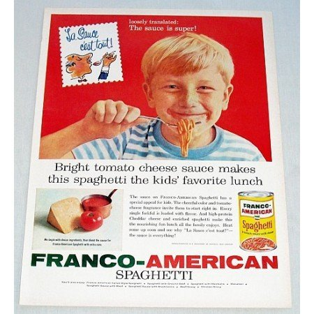 1960 Franco American Spaghetti Color Print Ad - Sauce is Super