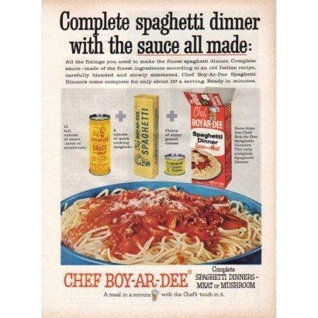 1960 Chef Boy-Ar-Dee Spaghetti Dinner Color Print Ad