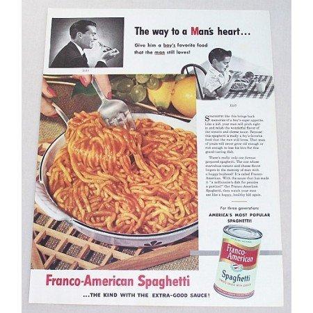 1953 Franco American Spaghetti Color Print Ad - Way To Man's Heart