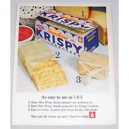 1961 Sunshine Krispy Crackers Color Print Ad - Easy As 1 2 3