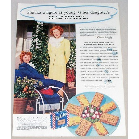 1942 Ry-Krisp Crisp Toast Color Print Ad Celebrity Billie Burke