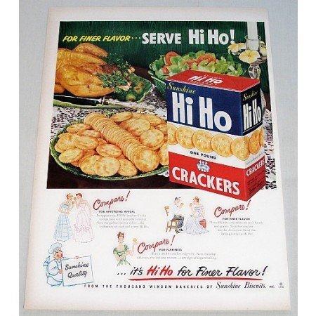 1948 Hi Ho Crackers Color Print Ad - For Finer Flavor