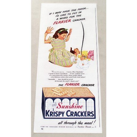 1947 Sunshine Krispy Crackers Color Print Ad - Flakier Cracker