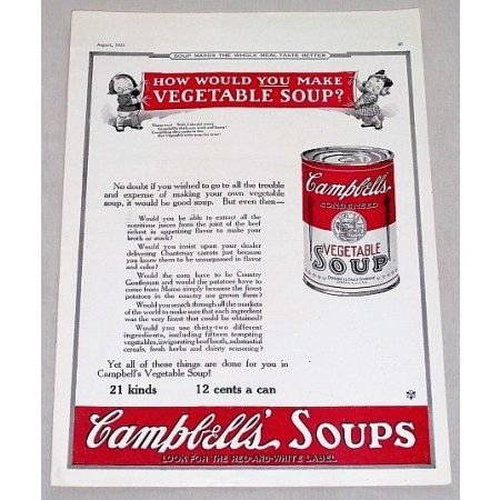 1923 Campbell's Vegetable Soup Color Print Ad