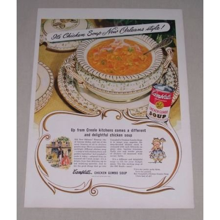 1949 Campbell's Chicken Gumbo Soup Color Print Ad