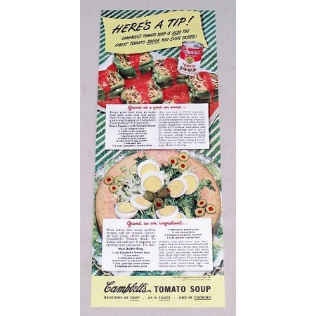 1949 Campbell's Tomato Soup Ham Buffet Ring Recipe Color Print Ad