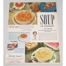 1949 Campbell's Consomme Soup Color Print Ad - Soup In Summer