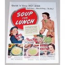 1952 Campbell's Soup Color Print Ad - Soup For Lunch