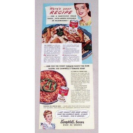 1949 Campbell's Soups Sausage Casserole Recipe Color Print Ad