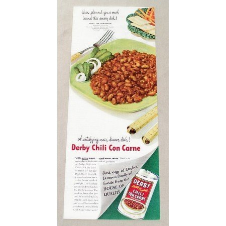 1947 Derby Chili Con Carne Color Print Ad - Main Dinner Dish