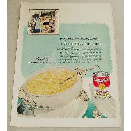1948 Campbell's Chicken Noodle Soup Color Print Ad - Colonial Times