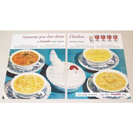 1954 Campbell's Soup Hen On Nest Glassware 2 Page Color Print Ad